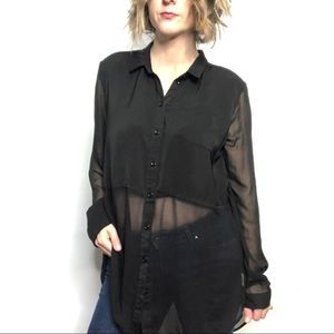 FREE PEOPLE Black Sheer Button Down